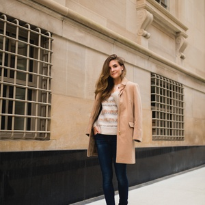 Regan Anderson showing off a camel coat fall look for Always a Clothes Call