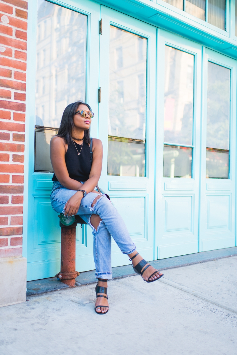 Devine Blacksher wearing boyfriend jeans