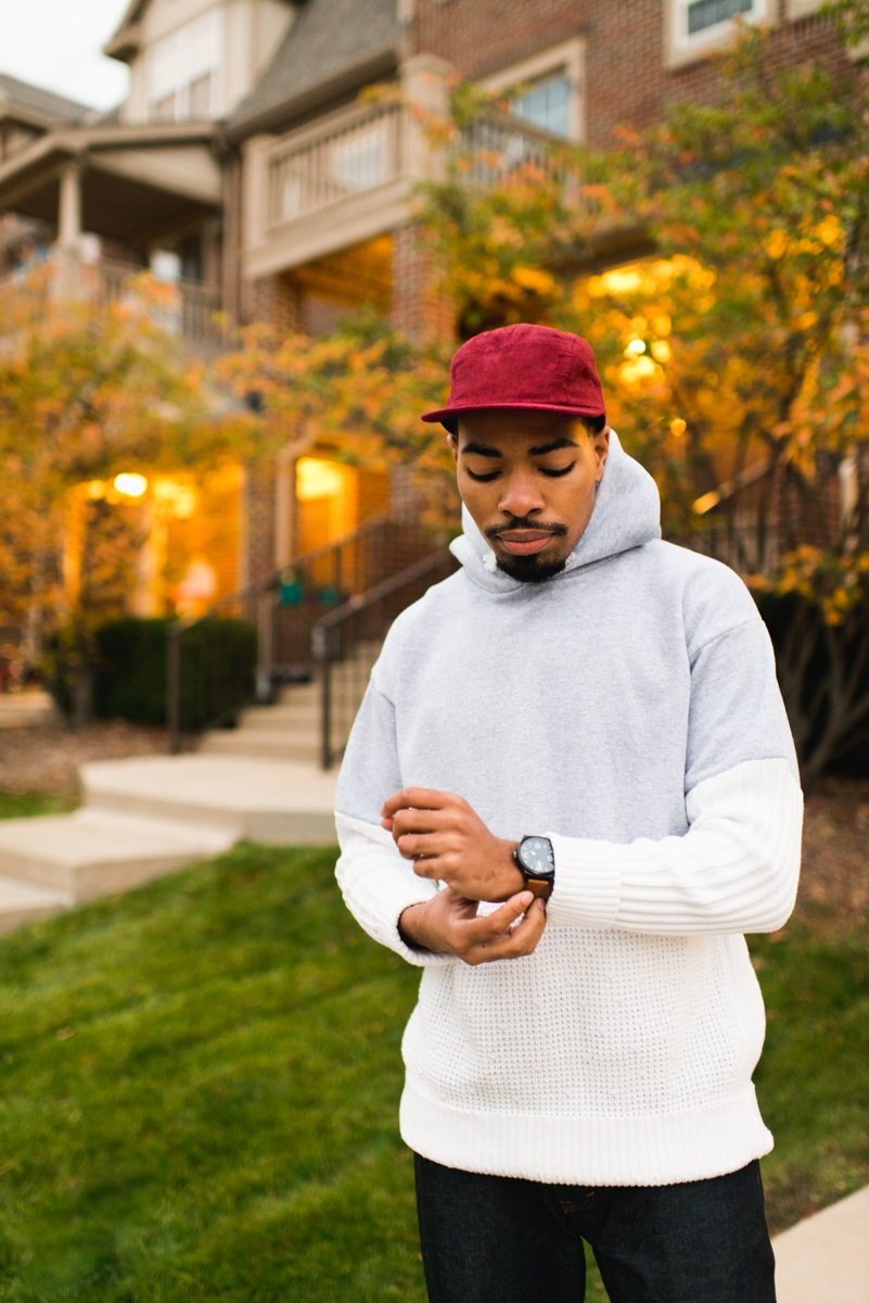 James Howard two-tone sweatshirt with watch