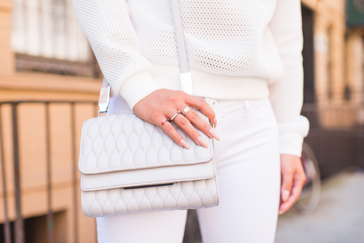 Lisa Wang white outfit and bag detail
