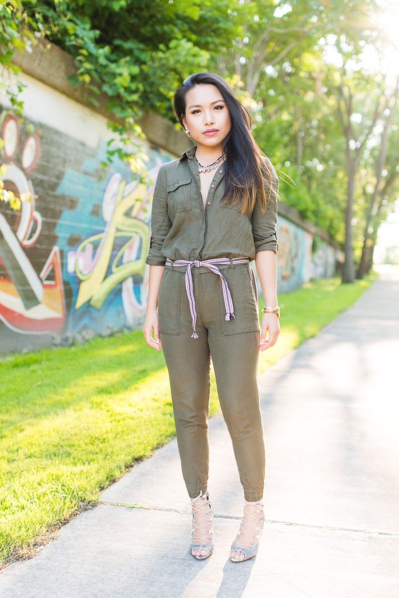 Nancy Nguyen olive jumpsuit