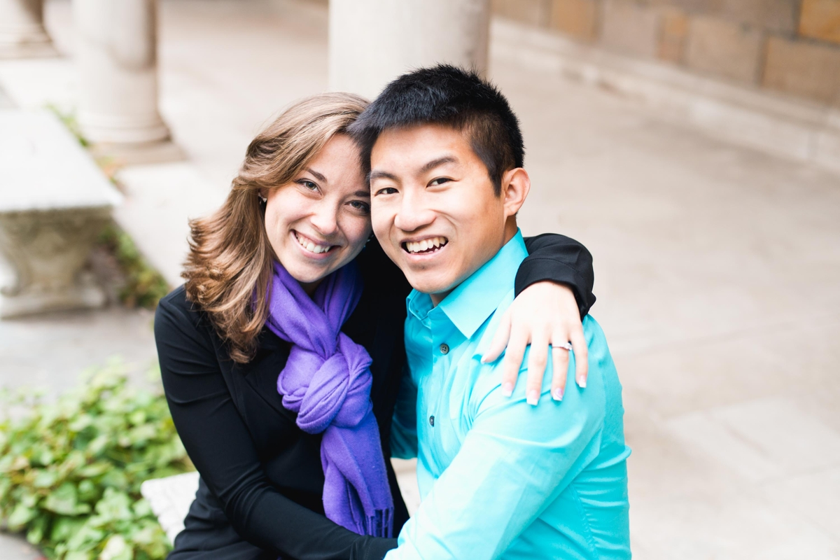 Vincent and Daisy engagement photo in Law Quad