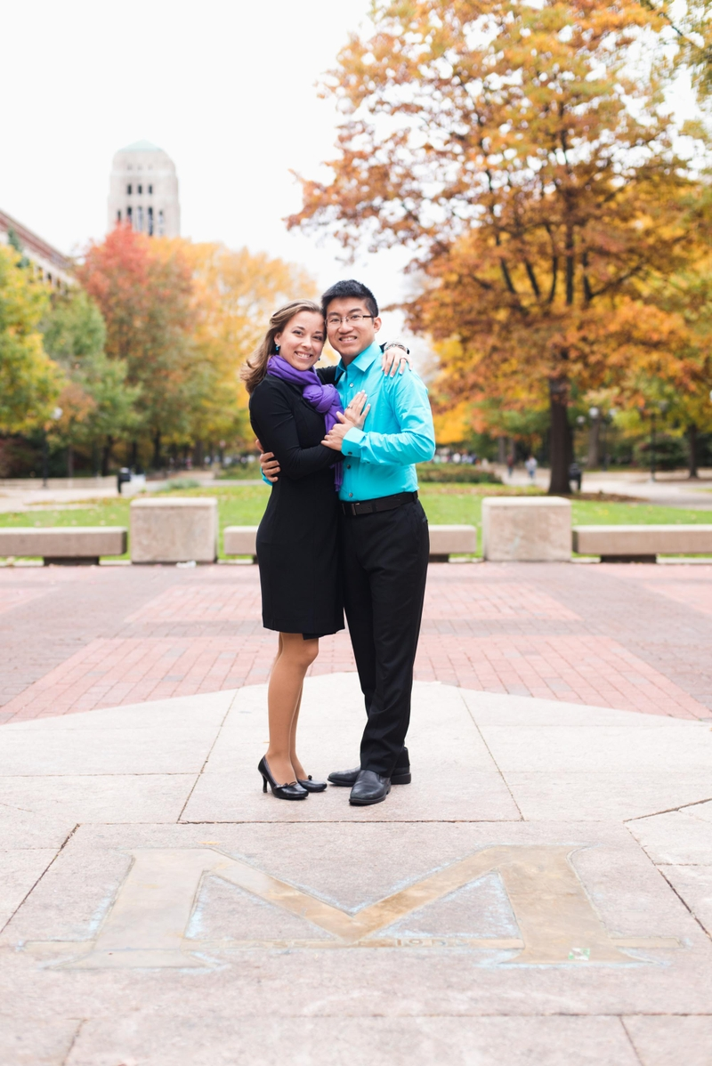 Vincent and Daisy engagement photo on the Michigan Diag