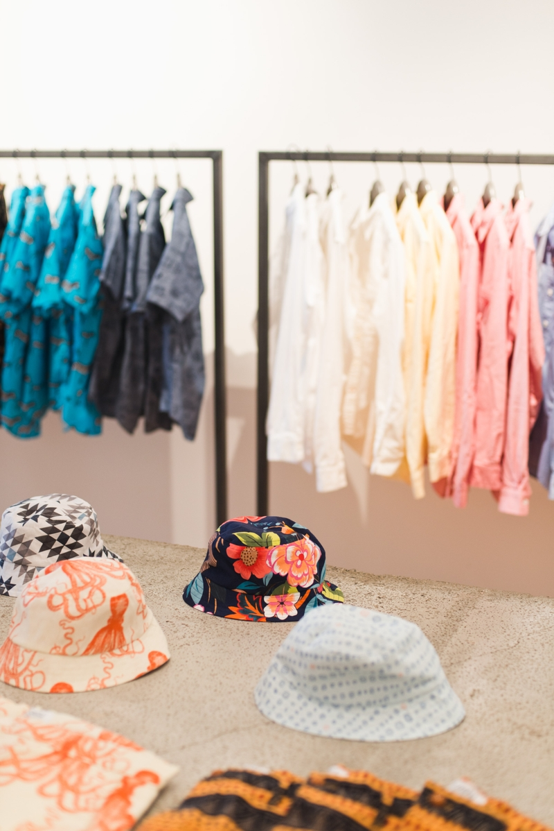 An assortment of printed bucket hats and shirts from Yoshi Clothing's spring/summer 2016 line