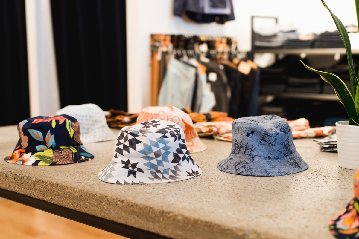An assortment of printed bucket hats from Yoshi Clothing's spring/summer 2016 line