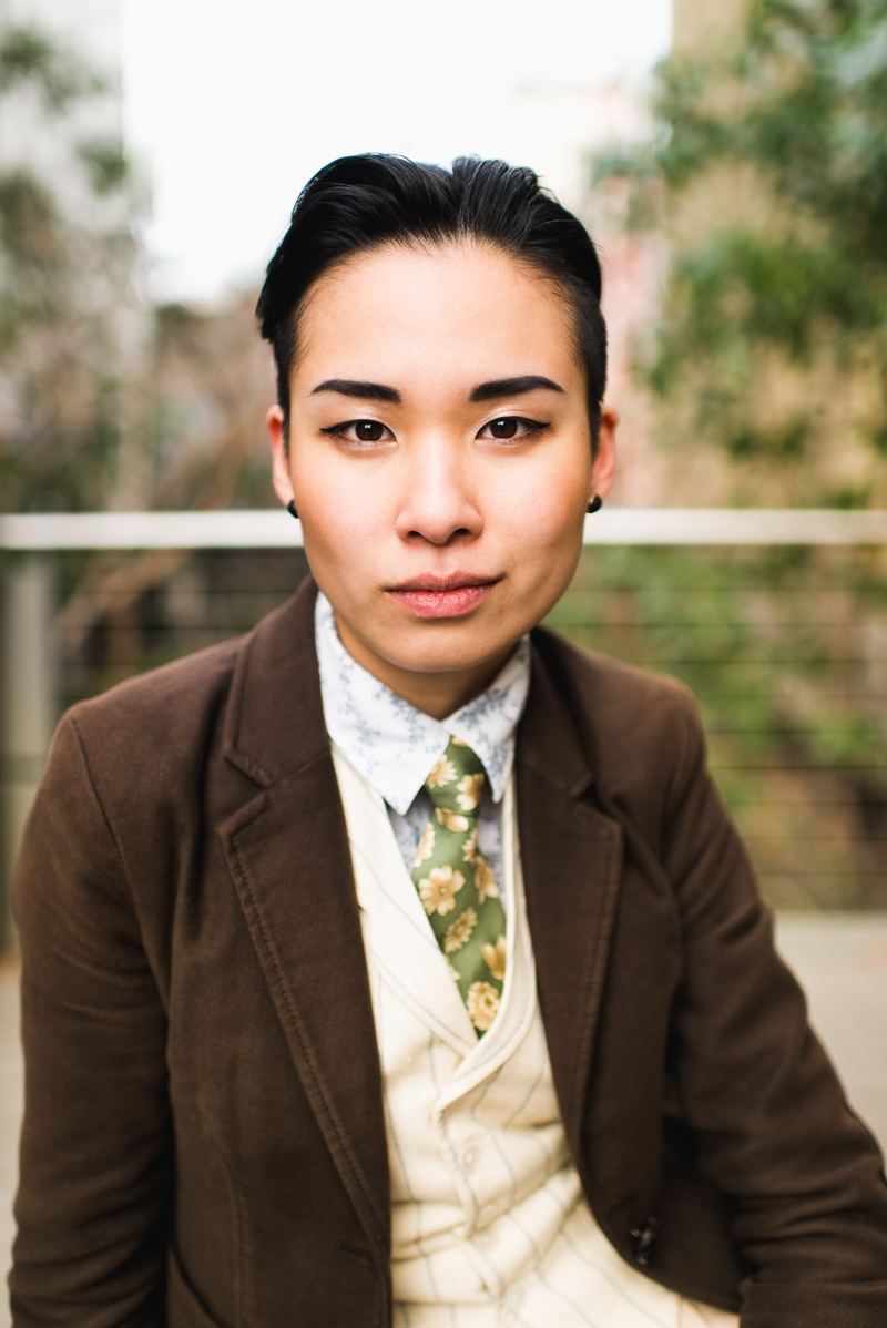 Portrait of a girl in menswear
