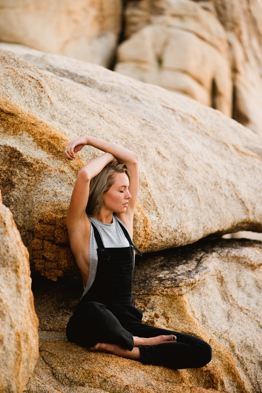 Portrait of Lindsey Boluyt, photographer, in Joshua Tree National Park