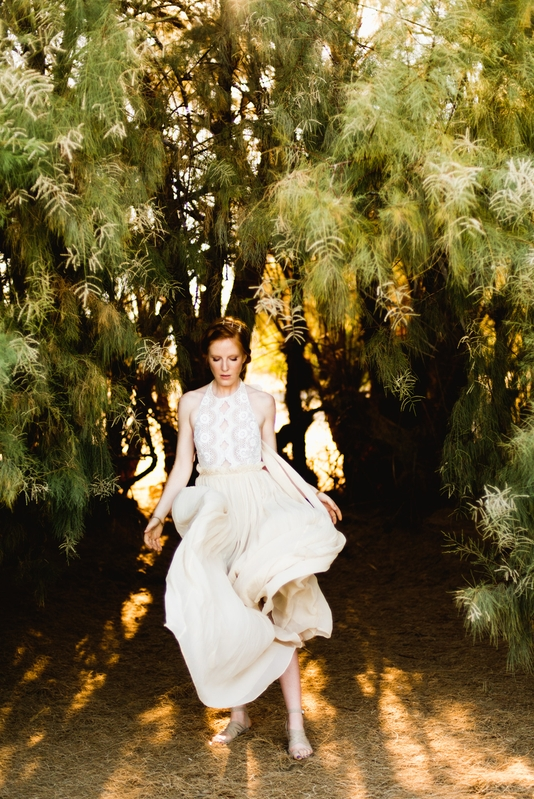 Model Maura McNamara models a flowing gown in Joshua Tree National Park